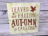 Autumn Leaves and Snowman Double Sided Wood Sign