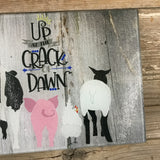 Up at the Crack of Dawn Farm Glass Cutting Board