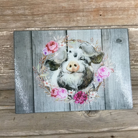 Pig Glass Cutting Board Gray