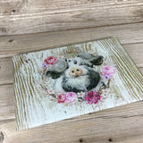 Pig Glass Cutting Board White