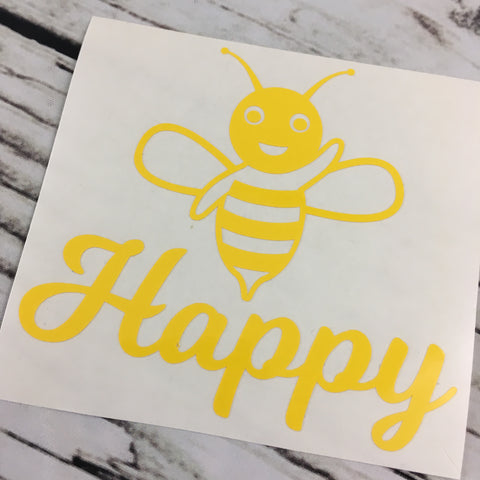Bee Happy Car Decal