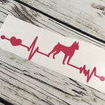 Min Pin Ekg Vinyl Decal Paw Print Heartbeat Car Decal