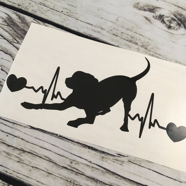 Dog Playing EKG Car Decal