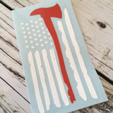 Firefighter Axe Tattered Flag Vinyl Decal