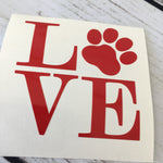 Love Dog Paw print Decal