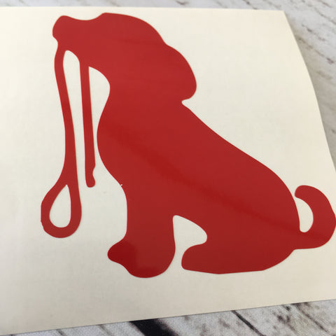 Sitting Dog with Leash Car Decal