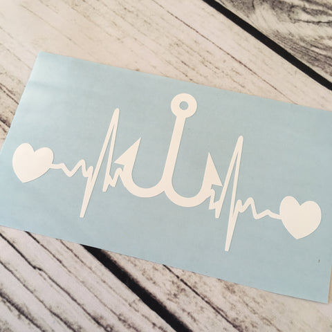 Fish Hook Heartbeat Vinyl Decal