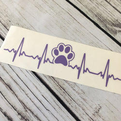 Dog Paw print Ekg Car Decal