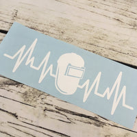 Welding shield ekg heartbeat decal