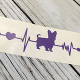 Yorkie Ekg Vinyl Car Decal