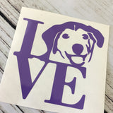 Love with Dog Head Decal