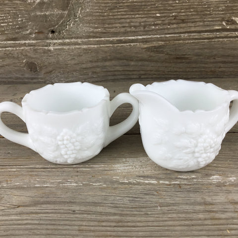Grape Milk Glass Creamer and Sugar Dish