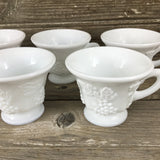 Set of 2 Indiana Glass Colony Harvest Milk Glass Cups