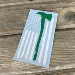 Forest Service Wildland Firefighter Axe Tattered Flag Vinyl Decal
