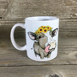 Sunflower Cow Mug  11 oz