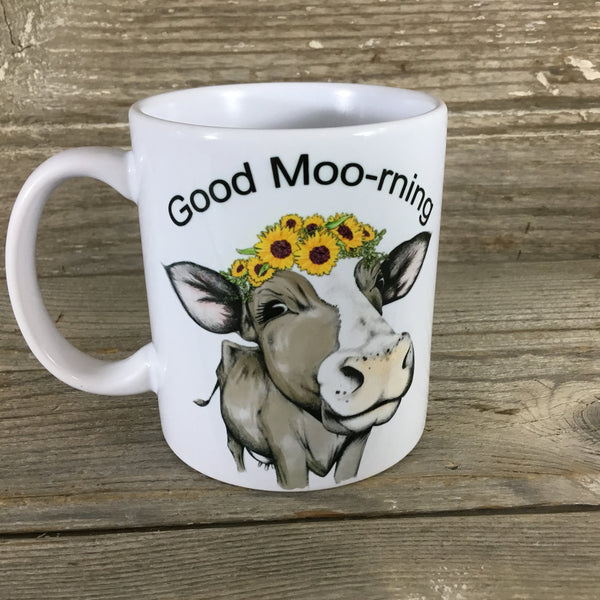 Sunflower Cow Mug  Good Moo-rning 11 oz Coffee Mug
