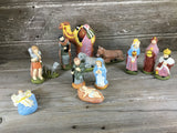 Vintage Christmas Hand Painted Nativity 13 Piece Set 1979