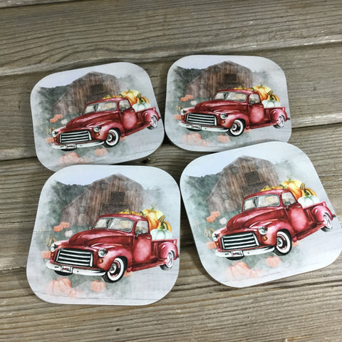 Vintage Truck Fall Pumpkin Farm Coasters Set of 4