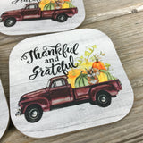 Thankful and Grateful Vintage Truck Fall Coasters Set of 4