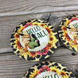 Hello Fall Scarecrow Round Coasters Set of 4