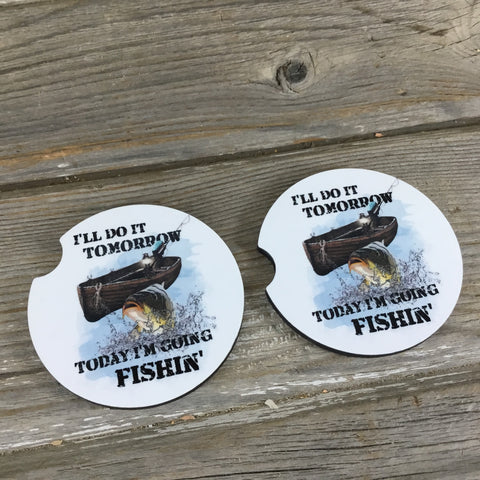 I'll do it tomorrow, today I'm going Fishin' Car Coasters