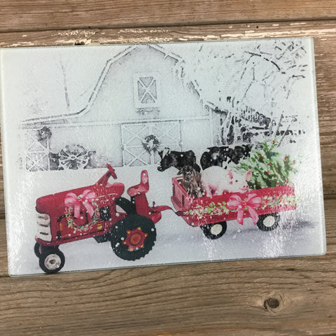 Country Farm Christmas Glass Cutting Board Red Tractor