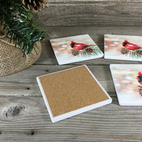 Winter Cardinal Sandstone Coasters Set of 4