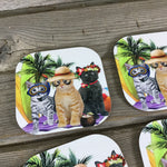 Cat Beach Pawtrol Coasters Set of 4