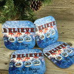 Believe Christmas Coasters Set of 4