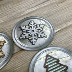 Rustic Christmas Tree Snowflake Coasters Set of 4