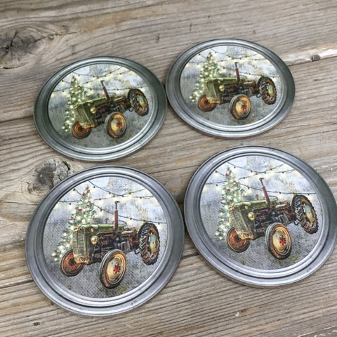 Rustic Green Tractor Christmas Coasters Set of 4