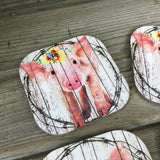 Rustic Pig Coasters Set of 4