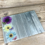 Flower Butterfly Wood Grain Glass Cutting Board