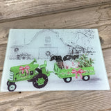 Country Farm Christmas Glass Cutting Board GreenTractor