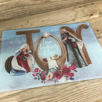 Joy Nativity Christmas Glass Cutting Board