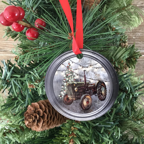 Rustic Green Tractor Paint Can Lid Christmas Ornament