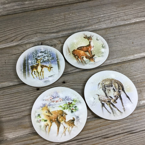 Winter Deer Doe Round Coasters Set of 4