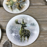 Winter Deer Buck Round Coasters Set of 4
