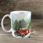 Vintage Red Truck Winter Coffee Mug
