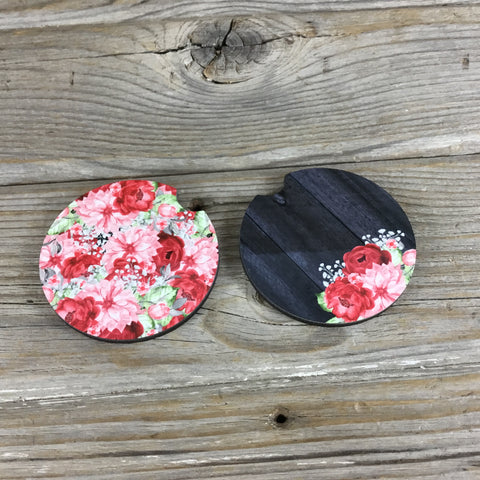 Flowers and Wood Plank Car Coasters