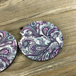 Purple Paisley Car Coasters