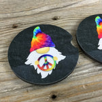 Hippie Gnomes Car Coasters Tie Dye