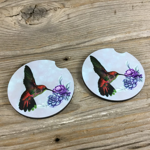 Hummingbird Car Coasters Set of 2