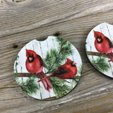 Male Cardinal Car Coasters Set of 2