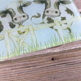 Holstein Cow Friends Glass Cutting Board