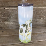 Holstein Cow Friends 20 oz Skinny Tumbler with Straw & Lid