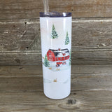 Winter on the Farm 20 oz Skinny Tumbler with Straw & Lid
