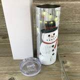 Rustic Let It Snow Snowman 20 oz Skinny Tumbler with Straw & Lid