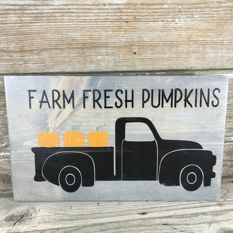Farm Fresh Pumpkins Vintage Truck Sign