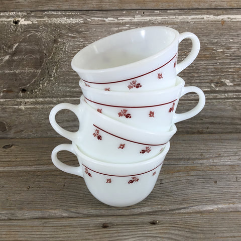 Pyrex Corelle Burgundy Coffee Cups Set of 7